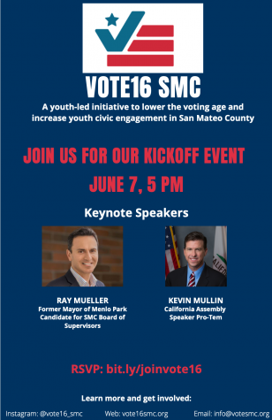 Youth political campaign Vote16 SMC is holding its kickoff event for Monday, June 7, featuring two keynote speakers. Photo courtesy of Vikram Seshadri.