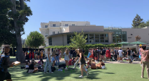 Students stand on the junior quad during a passing period on the first day of school. Staff Photo: Laura Artandi.